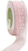 May Arts 3.8cm Wide Ribbon, Pink Crochet