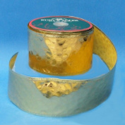 Gold Embossed Faux Leather Christmas Ribbon Spool 6.4cm x 60 Yards