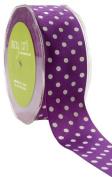May Arts 3.8cm Wide Ribbon, Purple Grosgrain Polka Dot