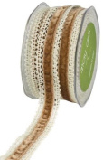 May Arts 2.5cm Wide Ribbon, Ivory Crochet with Antique Gold Velvet