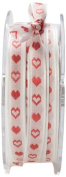 May Arts 1cm Wide Ribbon, White and Red Hearts