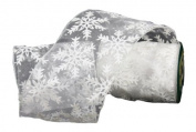 Renaissance 2000 Ribbon, 10cm , White Sheer with Snowflake