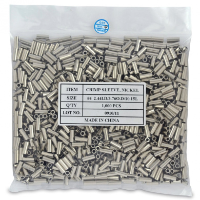 Surflon Size 4 - 1000-Piece Picture Wire Crimping Sleeves, Bright