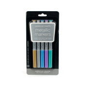 American Crafts Metallic Marker 5-Pack, Broad Point, Multi Colour