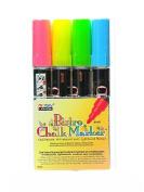 Marvy Uchida Bistro Chalk Marker Sets broad point fl. red, fl. blue, fl. green, fl. yellow [PACK OF 2 ]