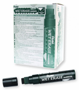 Pentel Arts Wet Erase Chalk Marker, Jumbo Tip, Black Ink, Box of 12