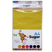 A4 Coloured Sugar Paper - 60 Sheets - 10 of Each, Yellow, Green, Orange, Pink, Blue & Brown