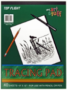 Top Flight Tracing Paper Tablet, Transparent, Erasable Surface, White, 23cm x 30cm , 40 Sheets