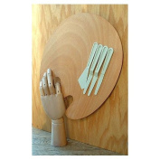 Wood Artist Palette with 4 Plastic Palette Knives
