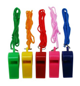 Yongshida Plastic Whistle and Lanyard Combo Mix Colour Assorted Pack of 2 Sets