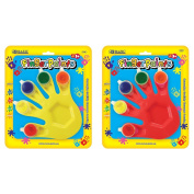 BAZIC 5 Colours 5 ml. Finger Paint with Hand Shaped Mixing Tray