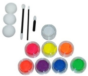 Kustom Body Art 8 Colour Fluorescent Face Paint Colour Set 10 ml with Applicator Kit