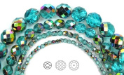 Choose a Size, Aqua Vitrail coated, Czech Fire Polished Round Faceted Glass Beads, 41cm strand