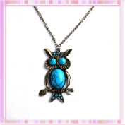 Unique Bronze Owl Filled Turquoise Pendant Copper-plated Metal Necklace and Free Pouch