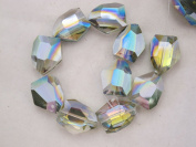 Glass Crystal Beads Green AB Colour Faceted Pentagon Shape 20x25mm 10pcs 10''per Stand