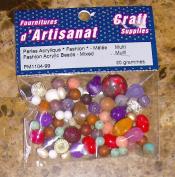 Fashion Acrylic Beads Mixed Multi Coloured 20 Grammes Arts & Crafts