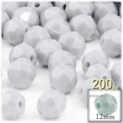 The Crafts Outlet 100-Piece Faceted Plastic Opaque Round Beads, 12mm, White