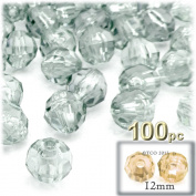 The Crafts Outlet 100-Piece Faceted Plastic Transparent Round Beads, 12mm, Clear
