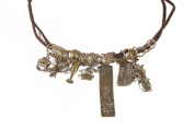 Antiqued Brass Pewter Charm Necklace