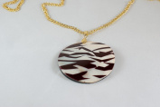 Round Shell Pendant (60mm) with Gold Plated Necklace