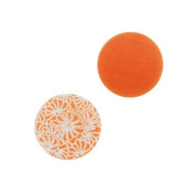 Lillypilly Aluminium Circle Stamping Orange W/ Art Deco Flowers 16mm