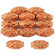 15g Bali Fluted Tube Beads Copper Plt 11.5mm Approx 12