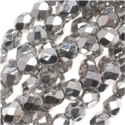 100 pcs Czech Fire-Polished Faceted Glass Beads Round 4mm Silver Metallic