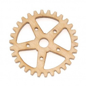 Maple Wood Laser Cut Steampunk 5 Point Star Gear Pendant Component 2.5cm