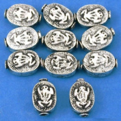 15g Fluted Frog Beads Antq Silver Plated 11mm Approx 10