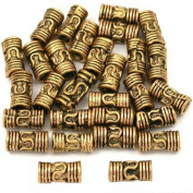 15g Bali Lariat Tube Bead Antq Gold Plate 8mm Approx 25