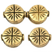 Fluted Star Disc Beads Antique Gold Plt 9.5mm Approx 4