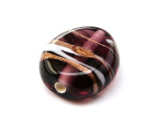 1pc Czech Glass Lampwork Beads Oval 16x12 mm Amethyst decorated black , aventurine and white stripes