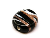 1pc Czech Glass Lampwork Beads Oval 16x12 mm Jet decorated aventurine and white stripes