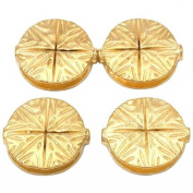 Fluted Star Disc Beads Gold Plate Round 19.5mm Approx 3