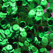 8mm Cup Facet Round SEQUIN PAILLETTES ~ GREEN Metallic ~ Loose sequins for embroidery, bridal, applique, arts, crafts, and embellishment. Made in USA.