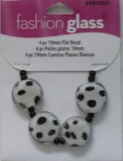 4 Pieces - Flat White with Black Spot Beads - Fashion Glass - 3481502