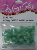 30 Gramme Pastels Shapes Mixed Green Beads - Fashion Glass by Cousin - #52963-04