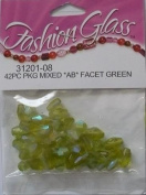 "42 Pc Pkg Mixed ""AB"" Facet Green Beads - Fashion Glass by Cousin - #31201-08"