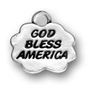God Bless America Patriotic USA Sterling Silver Charm