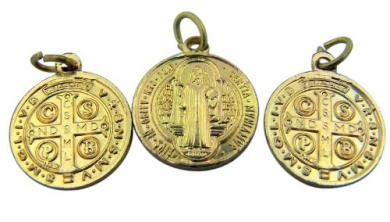 Lot of 3 - Jewellery Making Charms 1.6cm Gold Tone Saint St Benedict Protection Medal Pendant