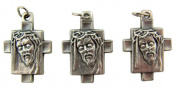 Lot of 3 - Jewellery Making Charms 2.9cm Silver Tone Medal Crown of Thorns Ecce Homo Pendant