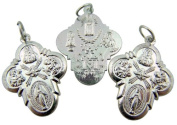 Lot of 3 - Jewellery Making Charms 2.5cm Silver Tone Rounded Edge 4 Four Way Cross Medal Pendant