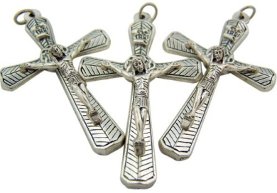 Lot of 3 - Jewellery Making Charms 5.1cm Silver Tone Medal Crown of Thorns Cross Crucifix Pendant