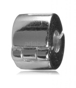 .925 Sterling Silver Clip Lock Stopper Bead Fits Pandora, Biagi, Troll, Chamilla and Many Other European Charm #EC107