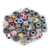 Ten Pack of Assorted Antique Silver Tone Beads and Rhinestone Spacer Bead Charms. Compatible With Troll, Biagi, Zable, Chamilia Charm Bracelets.