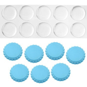 Sky Blue Crown Bottle Caps with 2.5cm Circle Epoxy Stickers