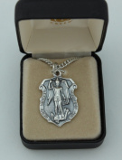Fine Oxidised Silver Tone 2.5cm - 0.6cm St Michael Medal on 60cm genuine rhodium-plated Chain with Gift Box