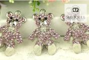 H33 Cute Pink Crystal Teddy Bear Charm Pendant Wholesale