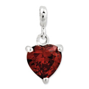 Sterling Silver Dark Red Cz Heart Enhancer, Best Quality Free Gift Box Satisfaction Guaranteed