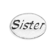 Beadaholique Pewter Lead Free Message Sister Bead Charm, 11 by 8mm